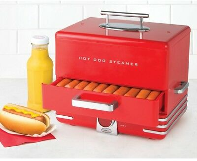 Nostalgia Hot Dog Steamer Dinner Style Electric Sausage Warmer 600 Watts Red