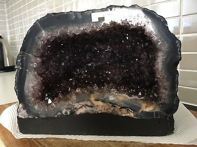 Beautiful Amethyst Cave Geode With Polished Agate Rim - New
