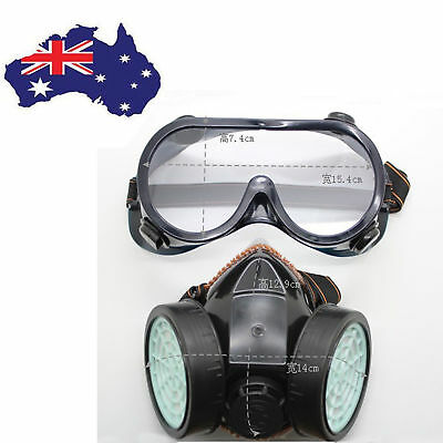AU Gas Respirator Chemical Paint Anti-Dust Face Mask Eye Glasses Goggles