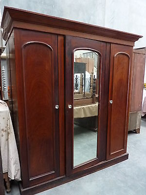 RARE AUSTRALIAN ANTIQUE solid CEDAR WARDROBE 5 drawer c1870 FULL MIRROR
