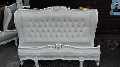White Upholstered French Style King Size Bed Delivery Avail