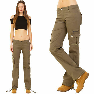 New Ladies Womens Wide Leg Stretch Cargo Pants Combat Trousers - Green