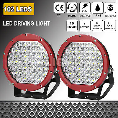 Pair 10Inch Led Cree Driving Work Lights Spotlights Offroad Truck 4Wd Hid Round
