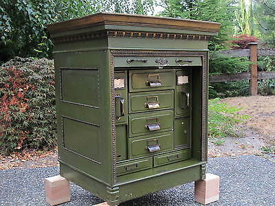 Rare Antique Metal Roll Front Office File Cabinet by Office Specialty MFG Co.