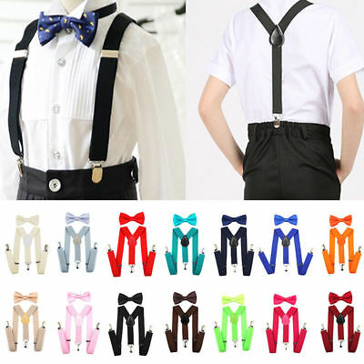 Baby Bow Tie Suspenders Set Adjustable Boy Bowtie Party Wedding Birthday formal