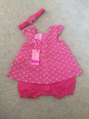 Pink Baby Girl Romper Size 3-6 Months With Matching Headband
