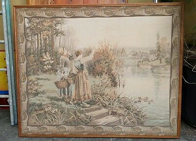 """Extremely Rare Large Antique Tapestry -Daniel Ridgway Knight """"Hailing the Ferry"""""""