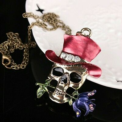 Unisex Biker Gothic Punk Pirate Skull Rose Top Hat Pendant Necklace UK +Gift Bag
