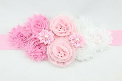 FLOWER GIRL SASH Belt Fabric Floral Bride Pink Flowers Bridesmaid New Accessory