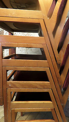 set of six vintage benchairs stacking chairs  mid century modern cafe / bar   x6