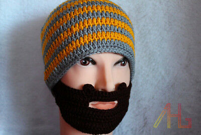 Unisex Hat Crochet Beard Beanie Mustache Mask Face Ski Winter Knit Hat Cap UK