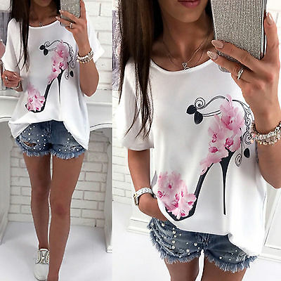 Summer Women Blouse Floral Print Short Sleeve Casual Loose T-shirt Tops Tee New
