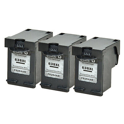 3 Refill Black Ink Cartridge Compatible with HP 63XL #63 XL OfficeJet 4650 4652