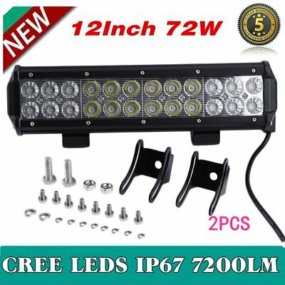 12inch 72W Cree Led Work Light Bar Flood Spot SUV Offroad Driving 4WD Fog Jeep E