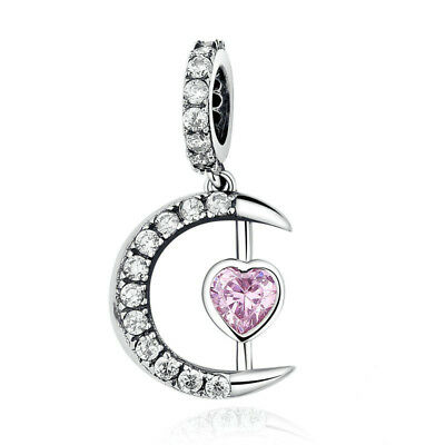 Moon Charm Pink Heart Dangle Genuine Sterling Silver 925 Wife Family Daughter