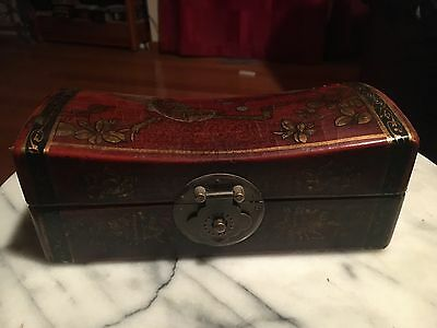 ANTIQUE VINTAGE Chinese Japanese Asian Box Red Lacquer