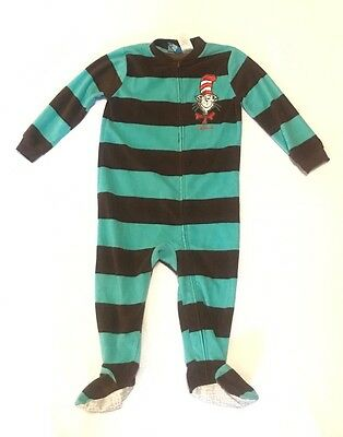 Dr. Suess Cat In The Hat One Piece Fleece Pajama Size 24m