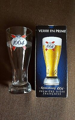 2 Kronenbourg 1664  Beer Glasses W/1664 Embossed Bottom Of Glass