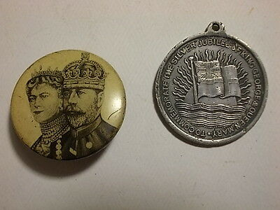 2 Old 1935 Small Royal Badges. Geo. V & Queen Mary.  G/VG