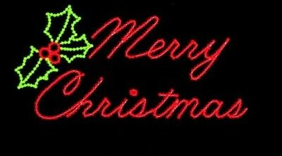 120cm Merry Christmas Sign 11mm LED Rope Light Motif with 36 bulbs per Metre