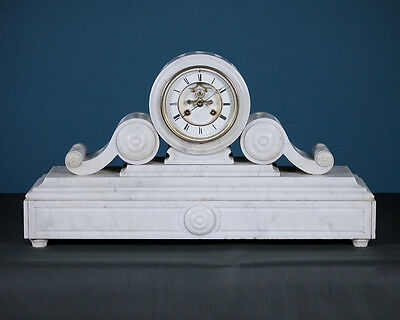 Antique Large White Marble Mantle Clock c.1870.