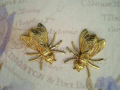 Large Raw Brass Fly Stampings (2) - RAT3819 Jewelry Finding