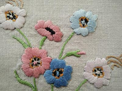 Lovely Pink & Blue Flowers - Heavily Hand Embroidered Centrepiece