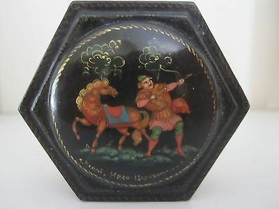 Palekh Russian Lacquer Hinged Box - Hunter And Horse - Beautifully Painted.