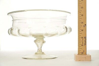 Vintage Mid-Century Italian Venetian Murano Gold Dusted Glass Compote