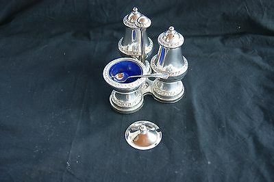 Vintage Silver Plated Ianthe Of England Salt Pepper  Muster Pots Spoon & Stand