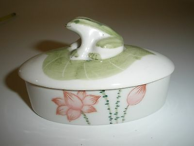 FROG Small Trinket Jewelry Box Andrea by Sadek Green Leaf  Flowers