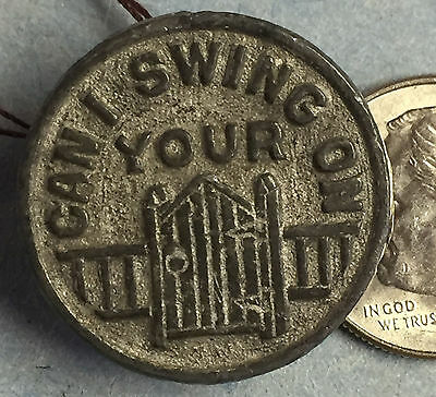 """#690 - Early 1900's METAL Cracker Jack Stud - """"Can I swing on your"""""""