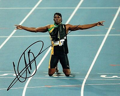 USAIN BOLT SIGNED AUTOGRAPHED 10X8 REPRO PHOTO PRINT Fastest Man Alive Olympics