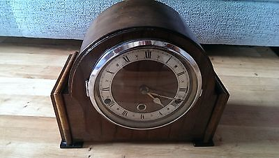 Antique Large Wooden Mantle Chime Clock with Pendulum