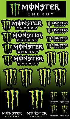Monster Energy Drink Logo Sheet of Stickers Decals 21stickers in total