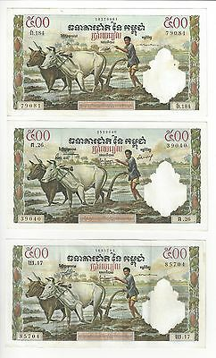 Cambodia  French Printed Notes 500 Riels French Type Printing  3 Diff Sig Types