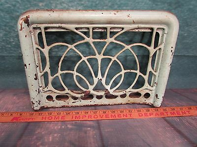 Antique Iron Floor to wall grate Very Ornate unusural design Teal green paint