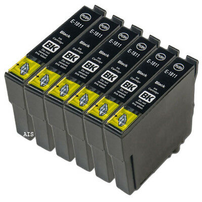 6 Black Ink Cartridges, For Epson XP102 XP202 XP205 XP30 XP302 XP305 XP402 XP405