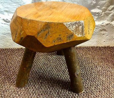 Vintage Rustic 3 Legged Wooden Milking Stool Very Solid