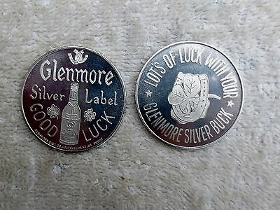 Glenmore Silver Label Whiskey Good Luck Token 1960s Lot of 2