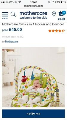 Mothercare Owls Bouncer Rocker Baby 2 In 1 Chair