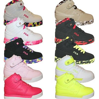 Boys Girls Kids Fila Vulc 13 Mashup Brights Neon Mid Sneakers Shoes 10.5-7 PS GS