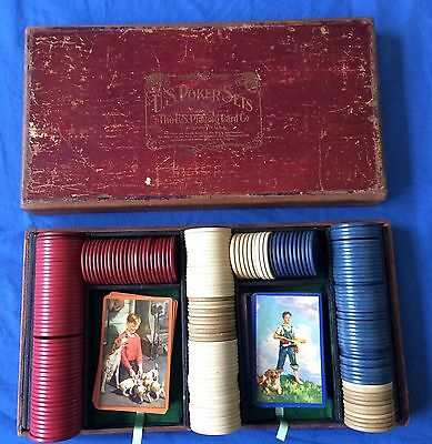 Antique Wood Box 195 Poker Chips Cards US Playing Cards Boy Girl Dog Puppies Set