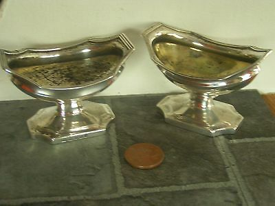 vintage? 2 x silver bowl / condiment pot? marked with a lion