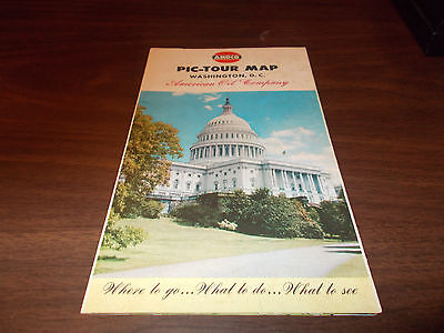 1954 Amoco Washington, DC Vintage Pictorial Map and Guide