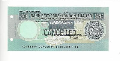 Specimen Bank Of Cyprus (London) Ltd  20 Pounds  Scarce   Nice Mint