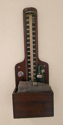 Vintage Large Wooden Accoson Doctors Wall Mounted Blood Pressure Monitor Rare