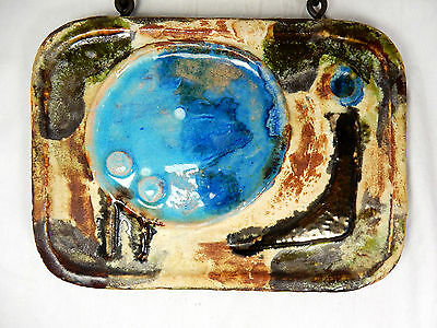 Beautiful 70´s abstract design Carstens Luxus Keramik chain wall plaque  blue