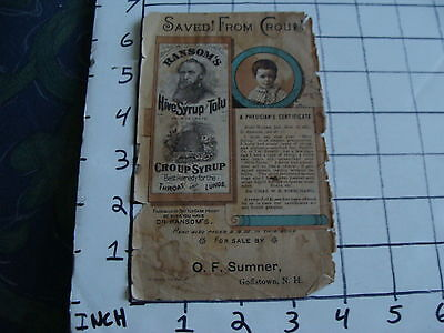 Original Vintage Ransom's Hive Syrup & Tolu ad O.F. Sumner Goffstown NH