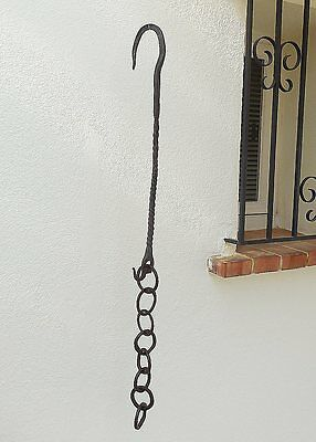 18th century  Antique Hand Forged Twisted Wrought Iron Fireplace Trammel Chain .